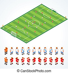 Soccer tactical Kit, isometric vector illustration of football field and abstract teams, all elements separated and grouped