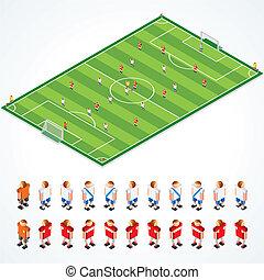 Soccer Tactics - Soccer tactical Kit, isometric vector ...