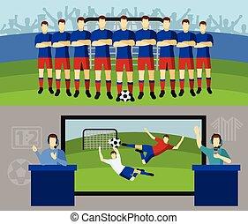 Soccer team 2 flat banners set