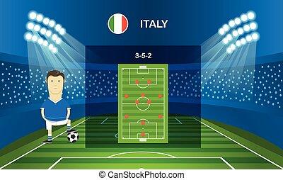 Soccer team arrangement. Football infographic template