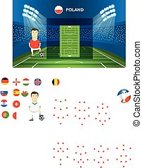 Soccer team arrangement. Football infographic template