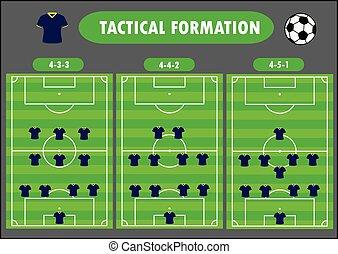 Soccer team formation, vector illustration