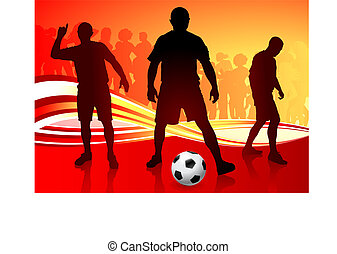 Soccer Team on Abstract Background