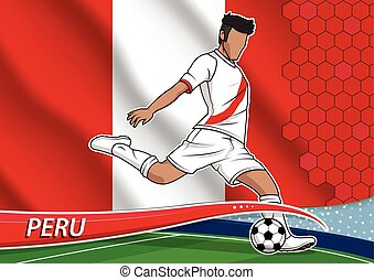 Vector illustration of football player shooting on goal. Soccer team player in uniform with state national flag of peru.