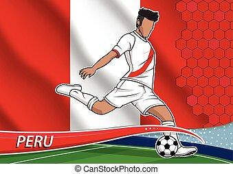 Soccer team player in uniform peru. - Vector illustration of...