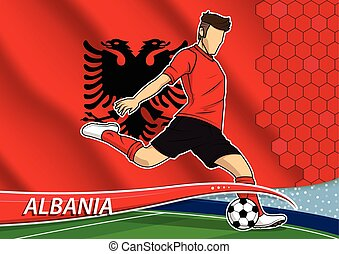 Soccer team player in uniform with state national flag of albania. vector illustration