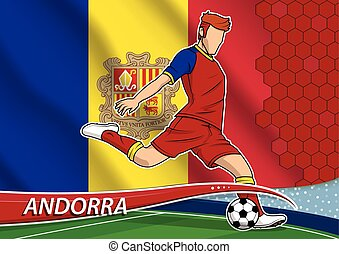 Soccer team player in uniform with state national flag of Andorra. Vector illustration