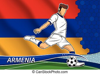 Soccer team player in uniform with state national flag of Armenia. Vector illustration.