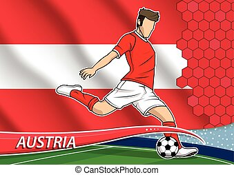 Soccer team player in uniform with state national flag of Austria. Vector illustration.
