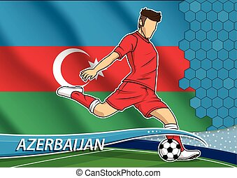 Soccer team player in uniform with state national flag of Azerbaijan. Vector illustration.