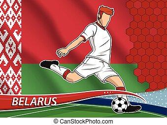 Soccer team player in uniform with state national flag of Belarus. Vector illustration.