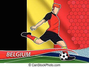 Soccer team player in uniform with state national flag of Belgium. Vector illustration.