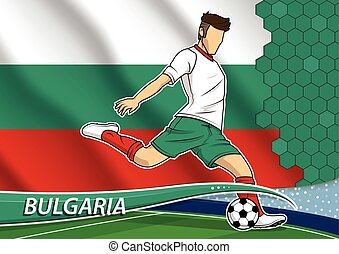 Soccer team player in uniform with state national flag of Bulgaria. Vector illustration.