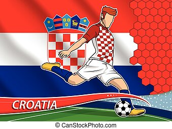 Soccer team player in uniform with state national flag of Croatia. Vector illustration.