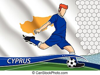 Soccer team player in uniform with state national flag of Cyprus. Vector illustration.