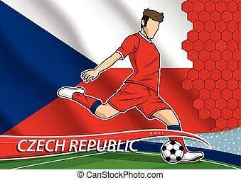 Soccer team player in uniform with state national flag of Czech republic. Vector illustration.