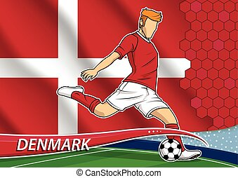 Soccer team player in uniform with state national flag of Denmark. Vector illustration.