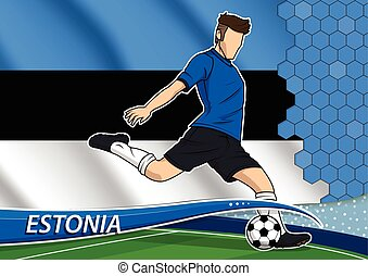 Soccer team player in uniform with state national flag of Estonia. Vector illustration.