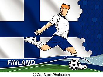 Soccer team player in uniform with state national flag of Finland. Vector illustration.