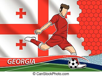 Soccer team player in uniform with state national flag of Georgia. Vector illustration.