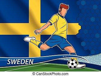 Soccer team player in uniform with state national flag of Sweden. Vector illustration.