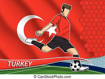Soccer team player in uniform with state national flag of Turkey. Vector illustration.