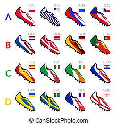 Soccer team shoes - Soccer shoes in national flag colors at...