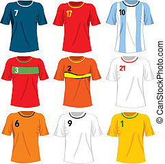 Soccer Team Uniforms - Collection set of different national...
