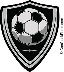 Soccer Template with Shield - Graphic soccer ball image...