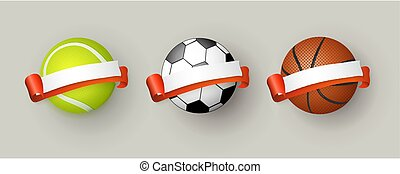 Soccer, tennis and basketball balls with ribbons - Set of...