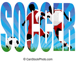 Soccer title with a players scene in the background, vector...