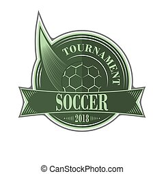 Soccer tournament vector emblem with ball.