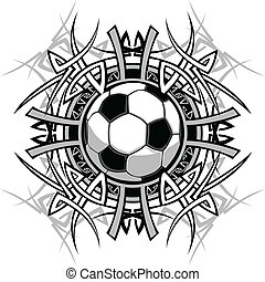 Soccer Tribal Graphic Image - Graphic of a Soccer Ball with...