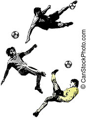 soccer trio - illustration of the soccer players