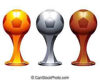 Soccer trophy cups. - Golden, silver and bronze soccer balls...