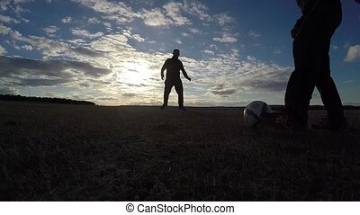 soccer. Two men play soccer football sky sport the beautiful...