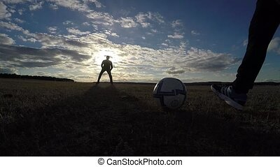 soccer. Two men play sport soccer football sky the beautiful...