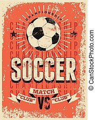 Soccer typographical vintage poster