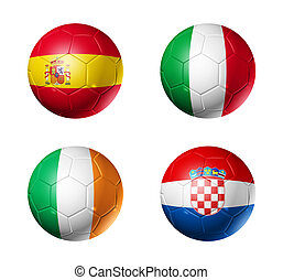 soccer UEFA euro 2012 cup - group C flags on soccer balls -...