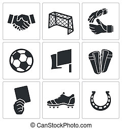 Soccer vector Icons set - Soccer vector icon collection on a...