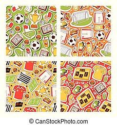 Soccer vector seamless pattern soccerball football pitch...