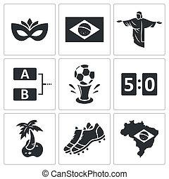 soccer, vektor, samling, ikon