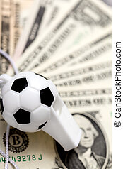 soccer whistle on dollar notes
