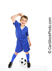 Soccer win - A boy thumps the air with a fist of success.