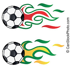 soccer with flag flame