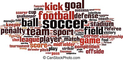 Soccer word cloud concept.