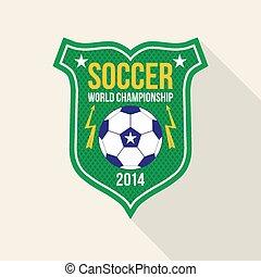 Bright soccer world championship emblem in flat style
