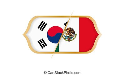 Soccer world championship South Korea vs Mexico. Vector illustration.