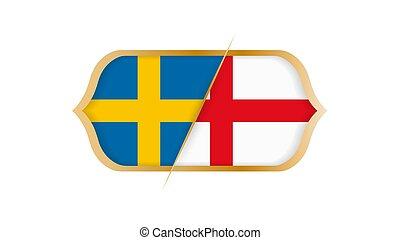 Soccer world championship Sweden vs England. Vector illustration.