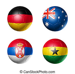 soccer world cup group D flags on soccer balls